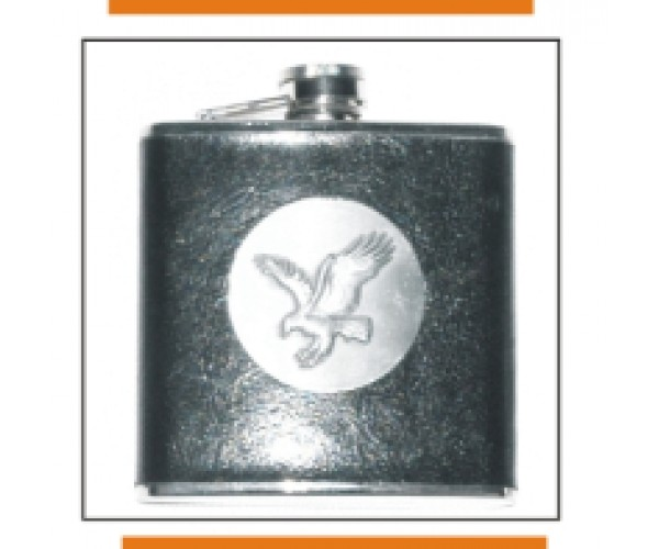 Metal Flask w/ Leather Case