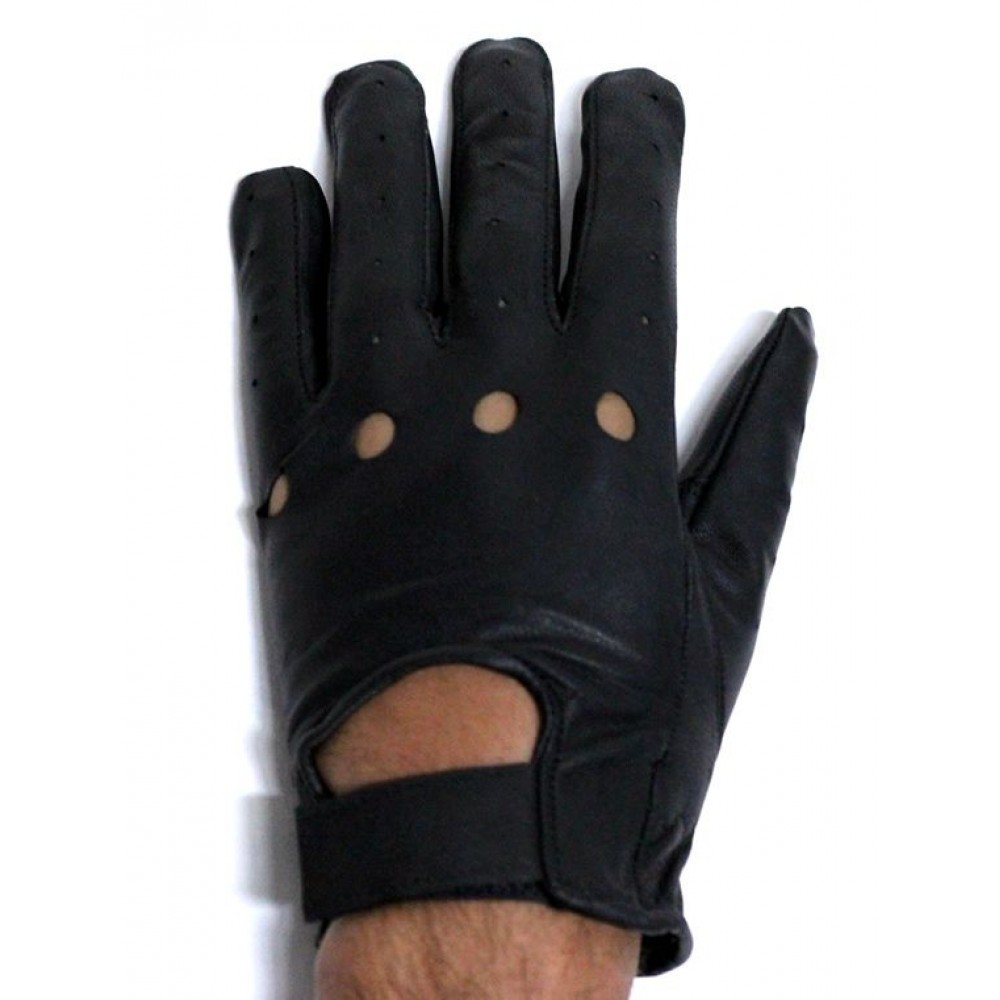 Leather driving gloves knuckle holes - All Leather Full Finger Gloves W Velcro Airvent Holes And Open Knuckle Holes