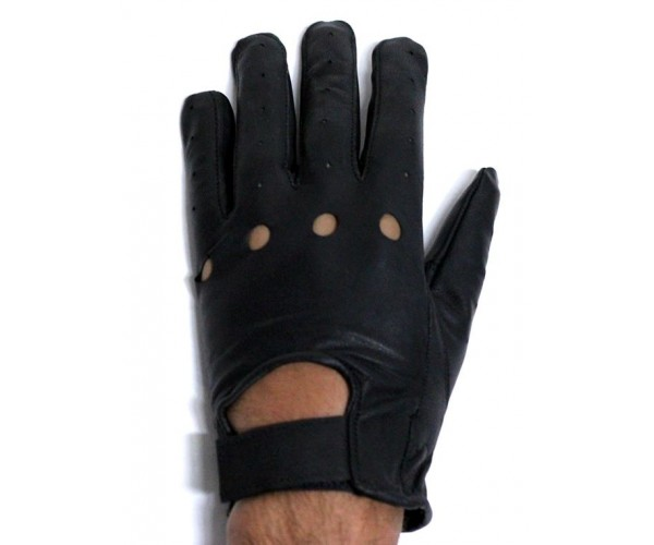 All Leather Full Finger Gloves w/ Velcro & Airvent Holes and Open Knuckle Holes